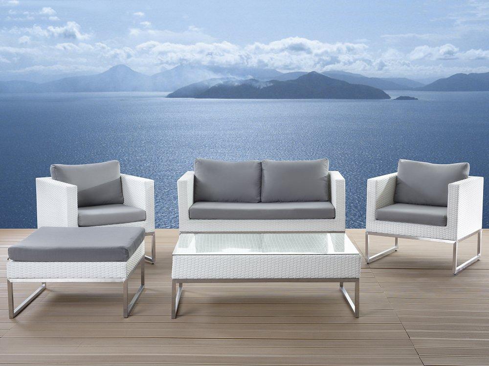 Salon de jardin bas aluminium blanc