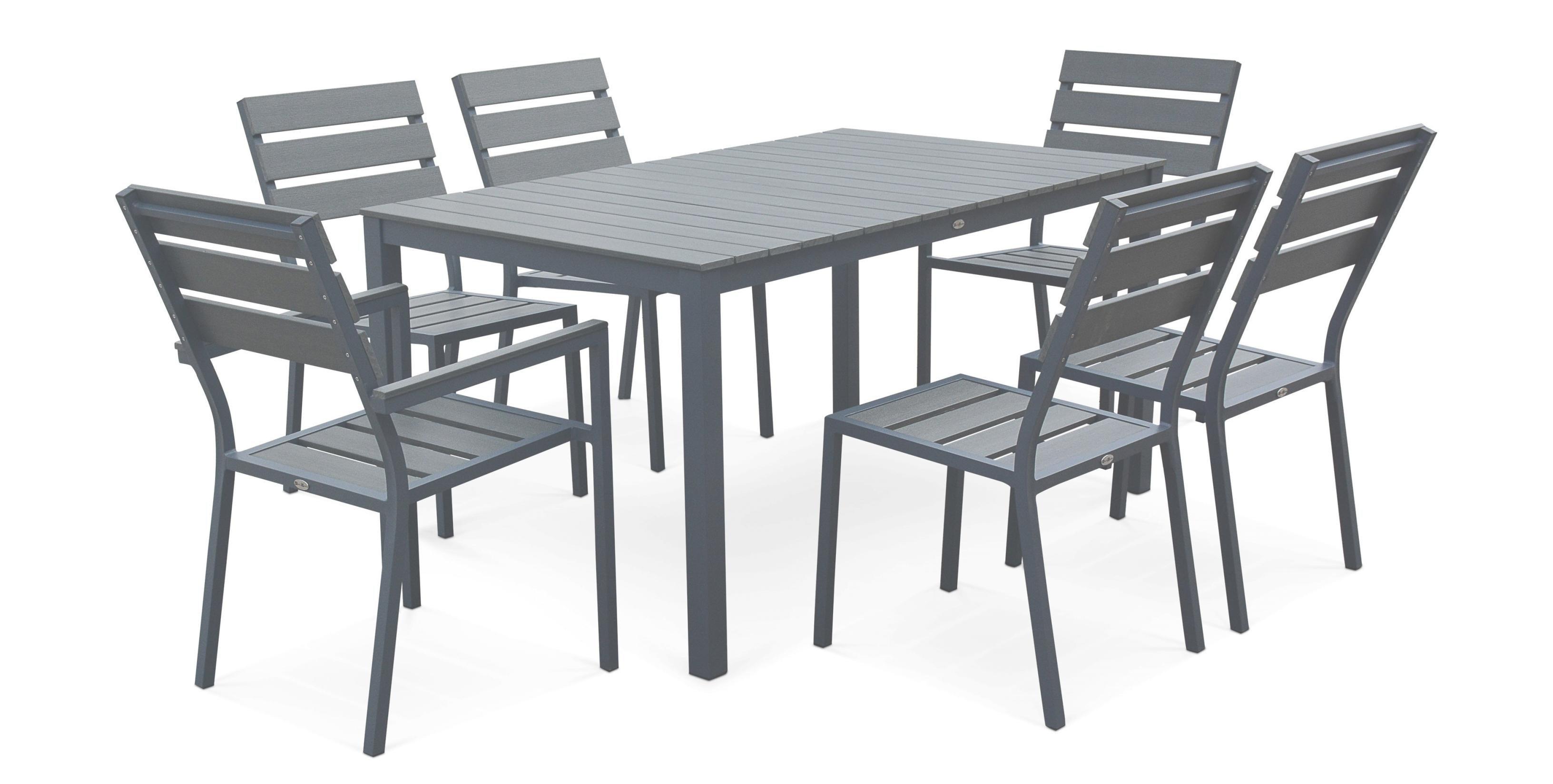 Salon de jardin aluminium plateau composite