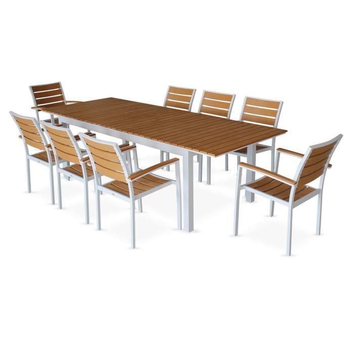 Salon de jardin bois composite