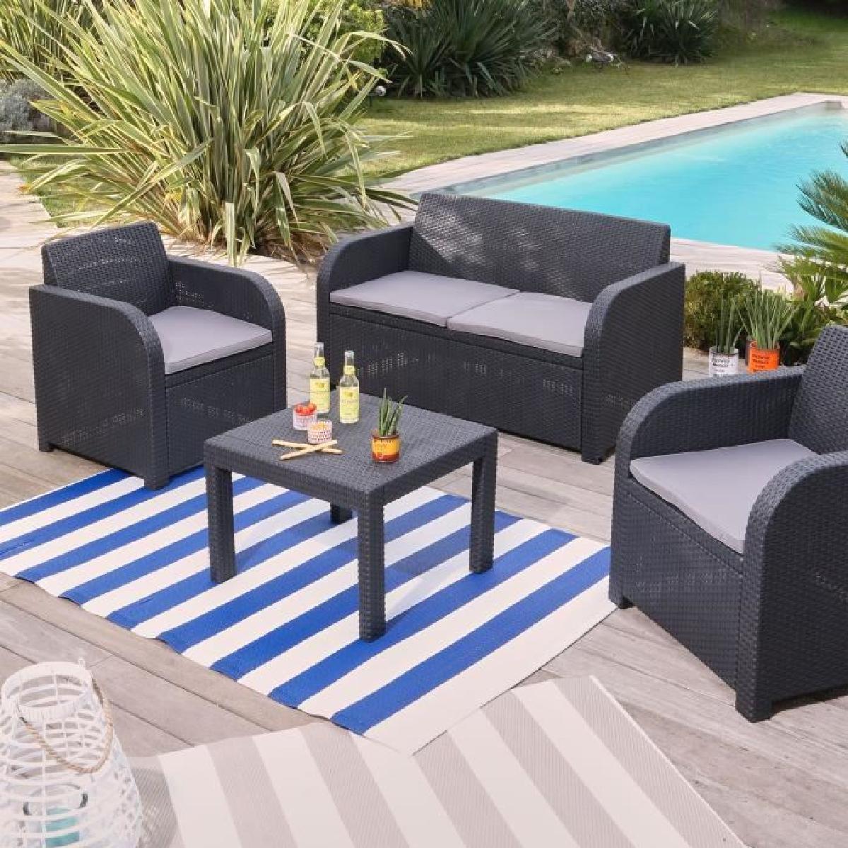 salon de jardin corona gris ch let maison et cabane. Black Bedroom Furniture Sets. Home Design Ideas