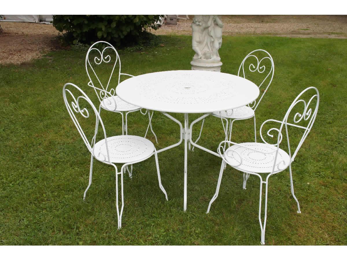 Salon de jardin table ronde fer forgé