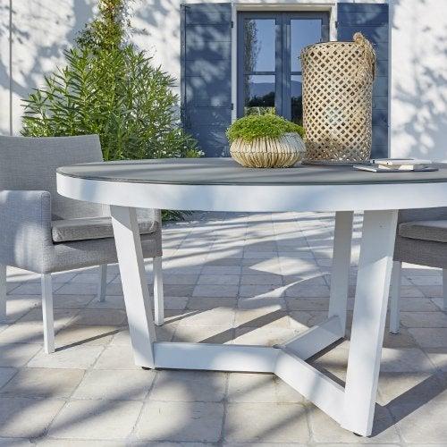 Table de salon de jardin ronde avec rallonge