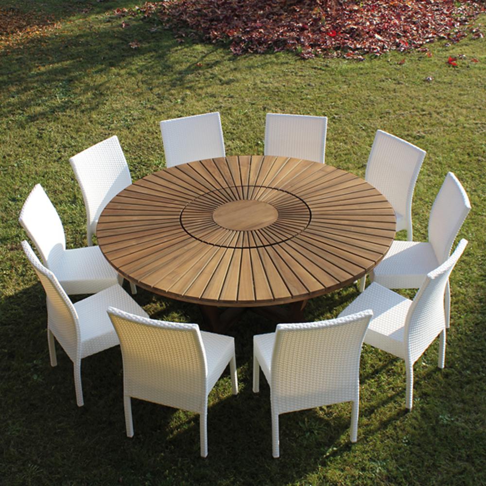 Salon de jardin table ronde en verre - Châlet, maison et cabane