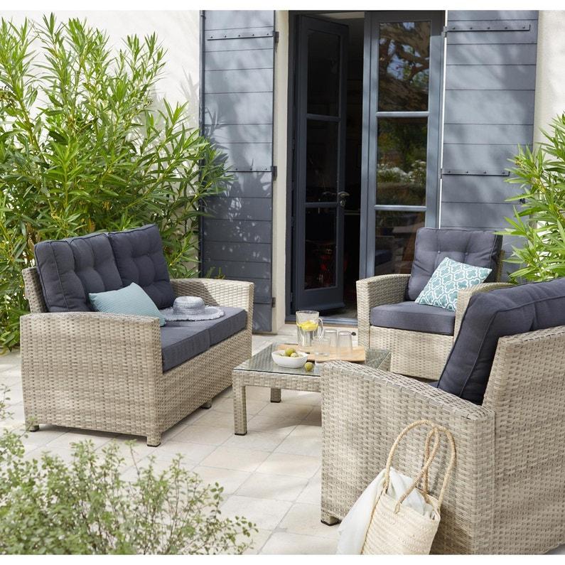 Salon de jardin paraiba en résine tressée assise taupe