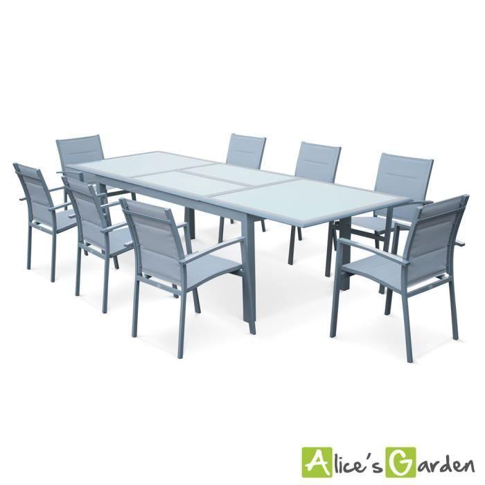 Salon de jardin en textilène table + 8 chaises