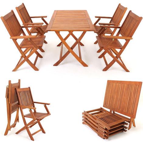Salon de jardin pliant en bois