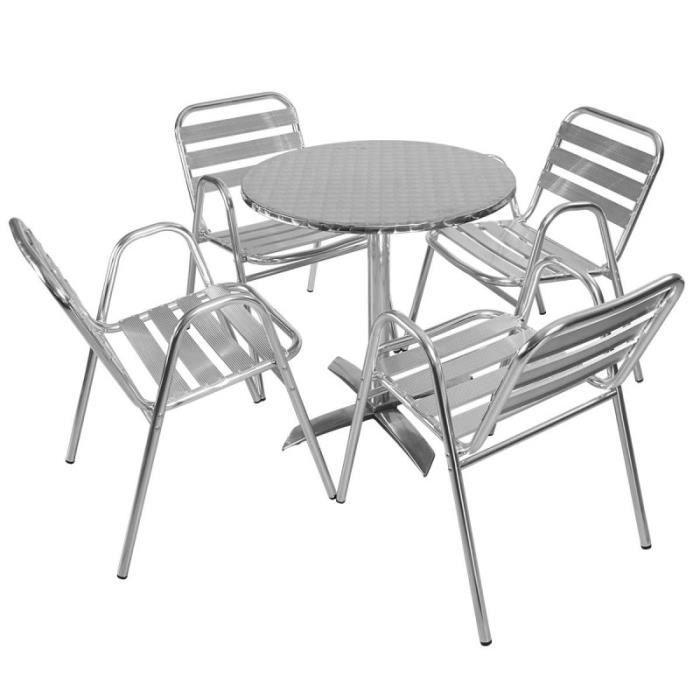 Salon de jardin table et chaise alu