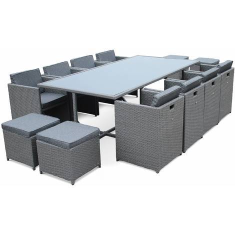 Salon de jardin table et chaises encastrable